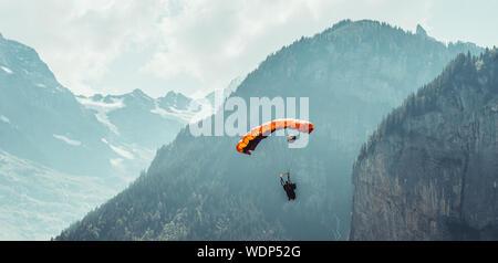 Ein BASE-JUMPER bereitet sich auf einen Touchdown in einem Feld in der Nähe von Interlaken vor, wobei die alpen im Hintergrund aufsteigen. - Stockfoto