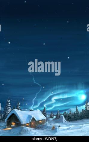 Romantische digitale Malerei der schneereiche Winter Weihnachten Landschaft. Berghütte im Schnee mit Bäumen herum und Nordlicht oder Aurora auf Sky. Bild vertikal. - Stockfoto