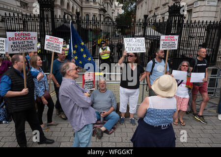 Anti Boris Johnson Demonstration vor Downing Street Nr. 10, 31. Aug 2019, London, Großbritannien - Stockfoto