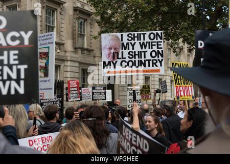 Anti Boris Johnson Demonstration vor Downing Street Nr. 10, 31. Aug 2019, London, Großbritannien - Stockfoto