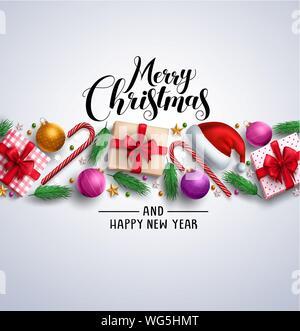 Weihnachtskarte vektor Banner mit frohe Weihnachten Gruß Text, bunte Elemente und Ornamente wie Geschenke in weißen Hintergrund. Vector Illustration. - Stockfoto