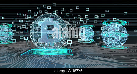 Bitcoin Technologie in Bezug auf den Dollar, 3D-Darstellung - Stockfoto
