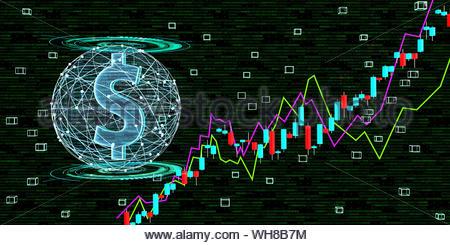 Wachstum des Dollarkurses durch Digitalisierung, 3D-Darstellung - Stockfoto