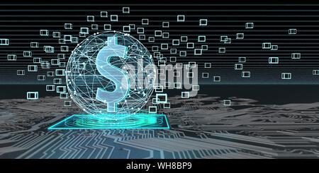 Dollar Währung auf blockchain Technologie, 3D-Darstellung - Stockfoto