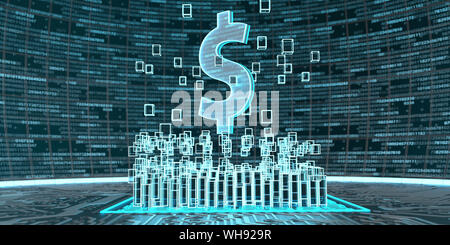 Digitale Dollar-Currency, 3D-Darstellung - Stockfoto