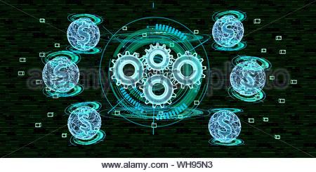 Kosten der Digitalisierung in der Industrie, 3D-Darstellung - Stockfoto