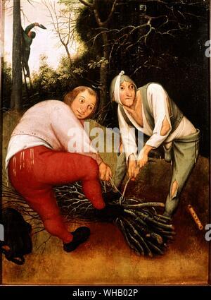 Zwei Bauern verbindliche Reisigbündeln. Künstler Pieter Brueghel der Jüngere (1564-1638). in der Barber Fine Arts an der Universität von Birmingham. Pieter Brueghel der Jüngere (1564-1638) war ein flämischen Renaissance Maler, Sohn von Pieter Brueghel der Ältere. Wenn er nur fünf Jahre alt war, starb sein Vater. Pieter Brueghel der Jüngere erhielt seine künstlerische Ausbildung von Flämischen Landschaftsmaler Gilles van Coninxloo. Brueghel später auch heiratete die Schwester seines Meisters.. Pieter Brueghel der Jüngere wurde ein Meister im Jahr 1585. Dann begann er Malerei Landschaften, religiöse Themen und Fantasy - Stockfoto