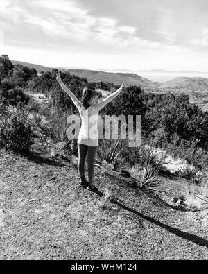 Ansicht der Rückseite des junge Frau mit erhobenen Armen Stehend gegen Sky - Stockfoto