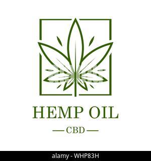 Marihuana Blatt. Die medizinische Verwendung von Cannabis. Hanföl. Cannabisextrakt. Symbol Produkt Label und Logo grafische Vorlage. Isolierte Vector Illustration. - Stockfoto