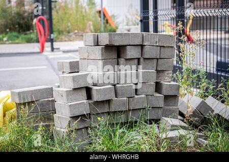 Cobblestone Flor. Straße Reparatur- und Bauarbeiten - Stockfoto