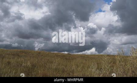 Herbst Landschaft. Nach dem Regen. Dramatische Himmel Hintergrund.