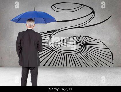 Zusammengesetztes Bild Reife Geschäftsmann hält Regenschirm - Stockfoto