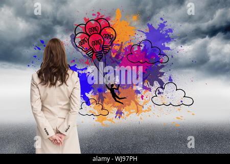 Zusammengesetztes Bild der Rückansicht der Geschäftsfrau wegschauen - Stockfoto