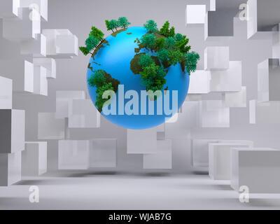 Globus schwebend im Raum mit Würfel - Stockfoto
