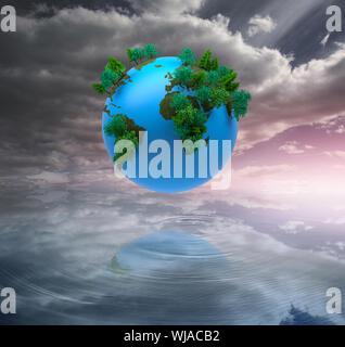 Digital erzeugte Erde in der Luft schweben - Stockfoto