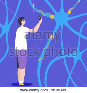 Der Kerl nimmt Bilder der künstlichen Neuronen. Kommunikation übertragen. Künstliche Intelligenz. Editable Vector Illustration - Stockfoto