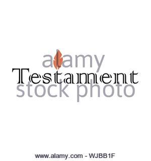 Testament Symbol text Logo mit orange flame Kerze in Schwarz und Weiß - Stockfoto
