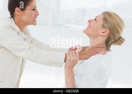 Seitliche Sicht auf zwei junge Unternehmerinnen in einen heftigen Kampf in Ihrem Büro - Stockfoto