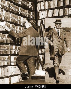 Sir Edward Richard Henry (Einfügung) für das britische Scotland Yard Fingerabdruck Bibliothek und der Bibliothek selbst im Jahre 1912 verantwortlich. (1850 - 1931). Er war Beauftragter der Polizei der Metropole (London Metropolitan Police) Fingerprinting 1903 bis 1918. - Stockfoto