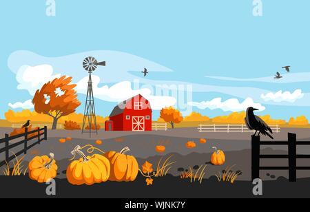 Herbst Bauernhof Landschaft. Ländliche Abbildung mit Kürbissen, Krähen und rote Scheune. Saisonales Design. - Stockfoto