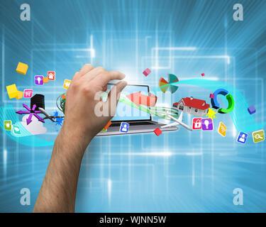 Hand, die gegen mehrere geometrische leuchtet - Stockfoto