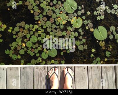 Untere Partie der Frau, die am Pier über den See - Stockfoto