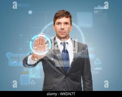 attraktive Buisnessman irgendwie mit virtuellen Bildschirm - Stockfoto