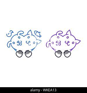 Liebe für Haustiere Umrisse Ikonen, Hund und Katze in der Form eines Herzens, das Symbol, die durch menschliche Hände auf weißem Hintergrund gehalten wird - Stockfoto