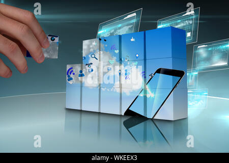 Hand Wand zeigen Floating smartphone Anwendungssymbole - Stockfoto