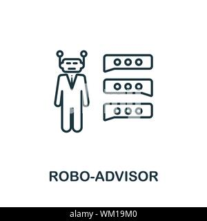Robo-Advisor Umrisse Symbol. Thin Line Konzept Element von fintech Technologie icons Collection. Kreative Robo-Advisor Symbol für mobile Anwendungen und das Web Stockfoto
