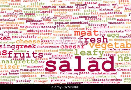 Salat-Arten und ihre Zutaten als Konzept - Stockfoto
