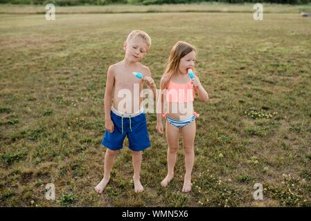 Bruder und Schwester essen Eis am Stiel das Tragen von Badeanzügen im Gras im Sommer Stockfoto