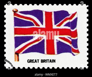 Großbritannien Flagge - Briefmarke isoliert auf schwarzen Hintergrund.