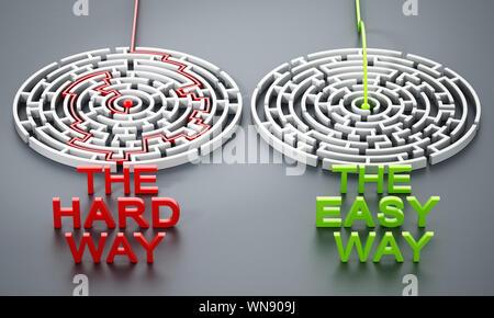 Die harte Weise und die einfache Weise Texte vor der Runde Labyrinthe. 3D-Darstellung. - Stockfoto