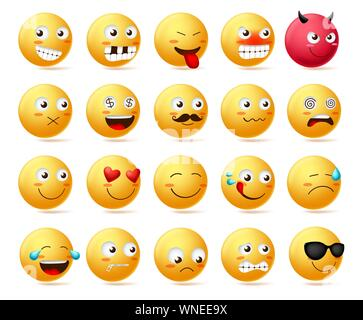 Smiley Emoticon vektor Charakter Gesicht gesetzt. Smileys niedlichen Gesichter emoji in Seitenansicht mit glücklich, wütend, erschrocken, leise, traurig, böse und isolierte inlove. - Stockfoto