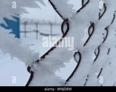 Schnee auf Maschendrahtzaun - Stockfoto