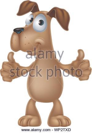 Hund cartoon geben Daumen bis - Stockfoto