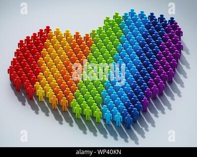 Regenbogen Flagge farbige Strichmännchen, die Form eines Herzens. 3D-Darstellung. - Stockfoto