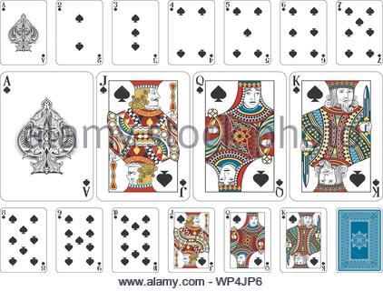 Größe Spaten Poker Spielkarten plus Rückwärtsgang - Stockfoto