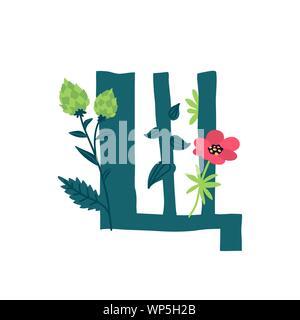 Buchstaben des russischen Alphabets. Vektor. Slawischen kyrillischen Schrift. Schöne Farbe Buchstaben in Pflanzen und Blumen. Botanik und Floristik. Dekorative Logo. - Stockfoto