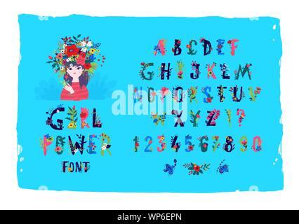 Englische Alphabet mit Blumen und Pflanzen. Vektor. Font Girl Power. Mädchen in einem Kranz, das Bild von Frühling und Sommer. Dekorative Elemente für den Store, c - Stockfoto