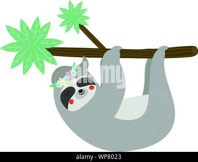 Lustige Faultiere hängen an Palm Tree Branch auf weißem Hintergrund niedlich. Kinder-T-Shirt drucken. Portrait von Sleepy Tier in Blumenkranz Carto - Stockfoto