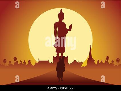 Mönch aus Tempel Wallfahrt der Straße Verdienst im ländlichen Raum und in den Wald zu machen. Für den Frieden still und Dharma im Sonnenuntergang big Sun hinter Bild von Buddha st - Stockfoto