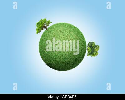 Grünes Konzept, green globe mit Bäumen Hintergrund - Stockfoto
