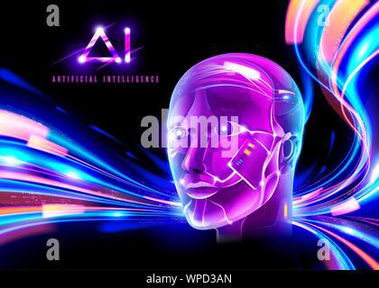 Eine ideale Abbildung einer AI-Technologie in Cyberpunk in leuchtenden Farben. - Stockfoto
