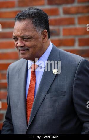 Polen AUSCHWITZ-02 August 2019: Jesse Louis Jackson Sr eine US-amerikanische Bürgerrechtlerin, Baptist Minister, Politiker. United States Schatten Senator - Stockfoto