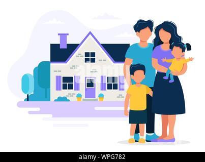 Glückliche Familie mit Haus. Konzept Abbildung für Hypothek, Haus kaufen, Immobilien. Vector Illustration im flachen Stil - Stockfoto