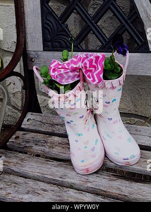 Pflanzen In regen Stiefel auf Holz - Stockfoto