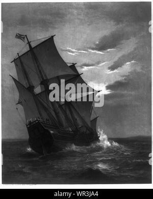 Mayflower Annäherung an Land - Stockfoto