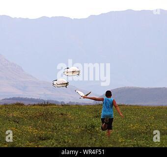 Ansicht der Rückseite des Teenager mit Vögel fliegen auf Wiese gegen Berg - Stockfoto